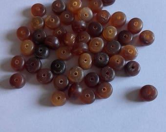 Set of 30 beads flat ocher