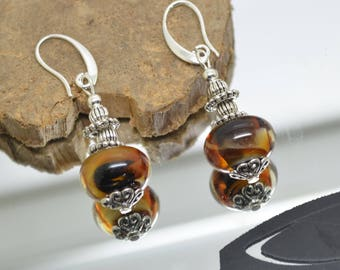 Amber and black .crochets Lampwork Glass beads earrings 925 sterling silver