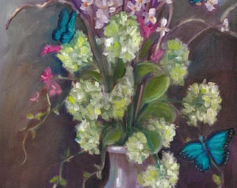 Not so still life, original art, oil painting, still life, floral, butterflies