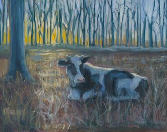 "Peaceful morning, 16"" x 20"" cow, landscape, Oil painting, original art,"