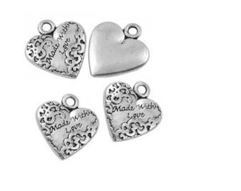 "5 hearts charms ""Made with love"" silver metal 18 mm"