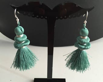 Earring collection rustle and brilliant woman or teen single emerald blue sewing thread