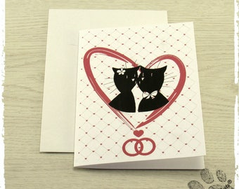 Cats tribe wedding invitation, couple of cats getting a kiss, dimpling background hearts