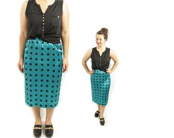 High waist skirt, Teal blue skirt, Checkered skirt, Midi skirt, High waisted skirt, Vintage skirt, Geometric Skirt, A line skirt / Medium