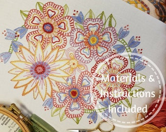 Advanced Beginner/Returning Embroiderer * Traditional Transfered Embroidery Kit 'FOLLOW ON FLORALS'(Softs)*Companion to 'Beginner Blossoms'