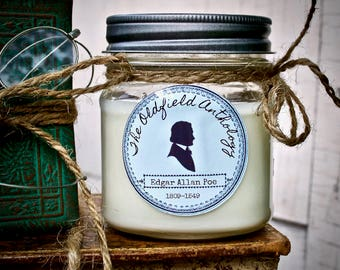 Edgar Allan Poe Candle | Soy, Mason Jar, Hand Poured, Literary Inspired | Oldfield Anthology