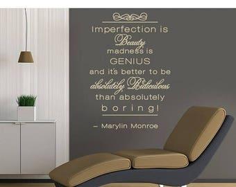 20% OFF Summer Sale Imperfection is Beauty Marlyn Monroe wall decal, sticker, mural, vinyl wall art