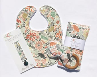 Baby Bib, Burp Cloth, Teether, and Paci Clip Set - Floral Baby Gift Set - Ready to Ship Baby Shower Gift Set - Handmade Baby Gift Set