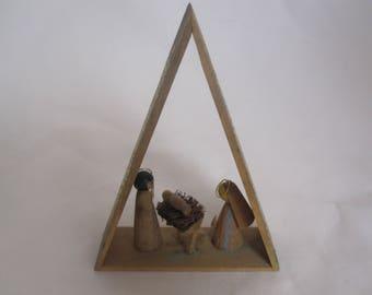 Miniature Mid-century Modern Nativity Manger Scene