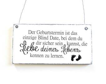 Blind Date sign for birth Dekoschild door