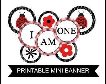 INSTANT Printable LADYBUG Theme High Chair Banner Birthday I am One!