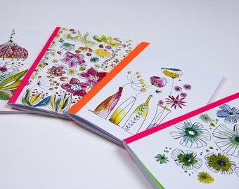 """Set of 2 small notebooks """"flowers and watercolor"""" laid to choose paper cover"""