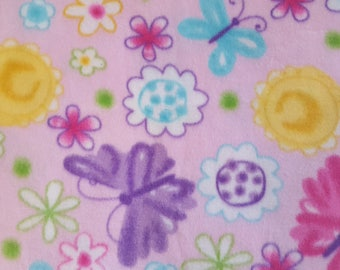 Butterflies and Flowers Fleece Fabric (1.5 yards)