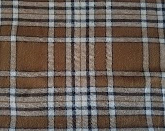 Plaiditudes Plaid Brushed Cotton Mini Oatmeal Cream Black Flannel Fabric (1.5 yards)
