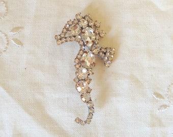 Beautiful vintage seahorse Clear rhinestone  brooch