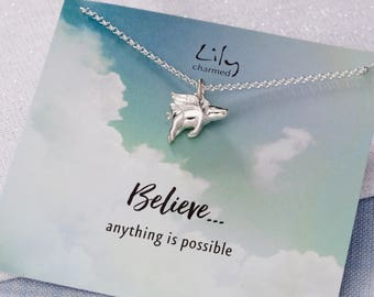 Sterling Silver Flying Pig Necklace with 'Believe . . . anything is possible' Message Card.