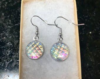 Mermaid scale earrings, white mermaid earrings, flashy earrings, rainbow flash, mermaid jewelry