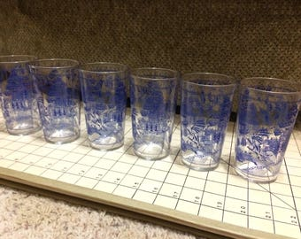 Federal Glass 'stitched border' Blue Willow 10oz tumbler