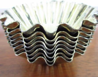 Vintage Metal Baking Cups Fluted Baking Cups Vintage Bakeware Metal Votive Holders Candle Holders