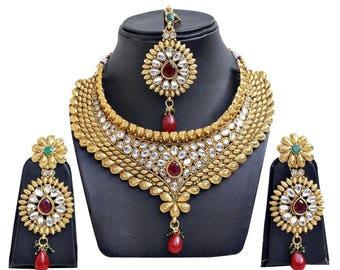 Bollywood Jewelry / Indian Wedding Set/Kundan jewelry/wedding jewelry/choker set/indian