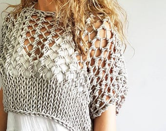 Knitting pattern for the Knotty Crop Top - Festival crop, knit crop top, knitted chunky crop sweater, bikini cover up, summer sweater