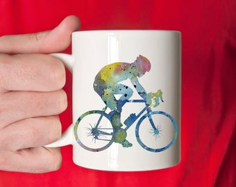 Cyclist Mug - Cyclist Gift - Bike Riding Watercolor Art Mug - Cyclist Coffee Mug - Unique Cycling Gifts