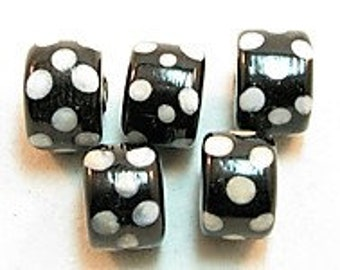 5 pieces Exclusive glass beads: Axatasa, ± 9x14 mm.