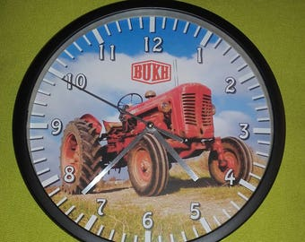 wall clock red bukh old tractor pattern