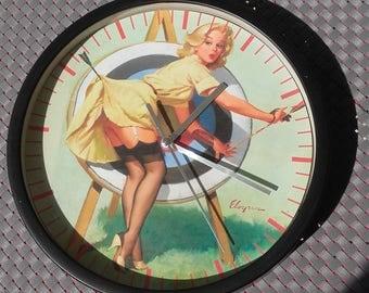 clock wall pinup girls retro vintage pattern