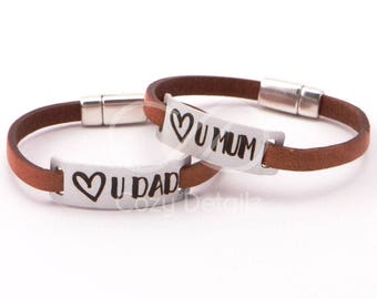 parents gifts, Love you Mom Love you Dad, personalized bracelet for mom dad, mum dad anniversary gift, fathers day, mothers day