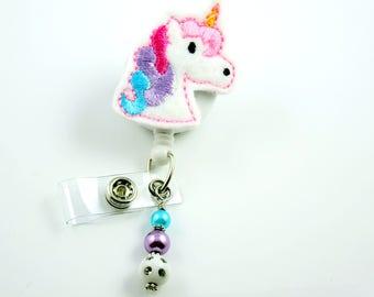 Cute Unicorn - Retractable ID Badge Holder-Name Badge Holder-Nurses Badge-Badge Clip-Badge Reels-Pediatric-RN-Nursing Badge Holder