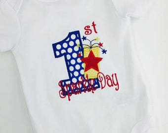 First Sparkle Day Fourth of July Applique Bodysuit