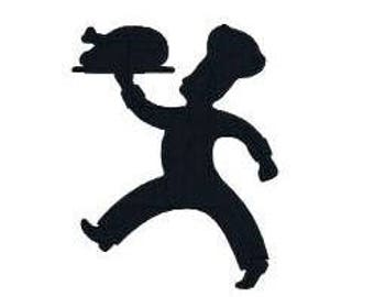 BUY 2 GET 1 FREE - Chef With Turkey Silhouette Logo Machine Embroidery Design in 3 Sizes, Including Mini