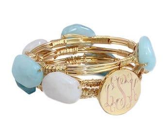Blue & White Engravable Wire Wrap Bracelet