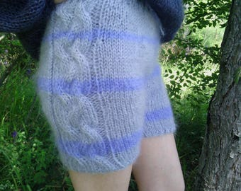 New hand knitted mohair pants,Gray,Handmade shorts