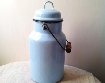 ON SALE 10% OFF Vintage Sky blue enamel milk can - enamelware - milk pail pot