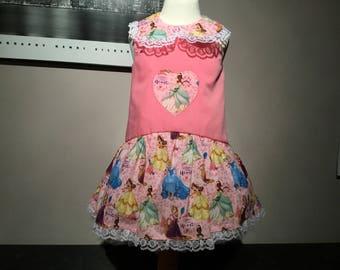 Girls Princess dress pink, heart princess applique, Peter Pan collar lacey trim dropped waist age 2 years party dress, wedding