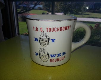 Vintage 1950s T.R.C Touchdown Boy Power Roundup Boy Scouts of America Coffee Mug RARE!
