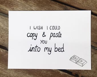 Long distance relationship card - i miss you - sexy - gift for him - boyfriend -i wish i could copy and paste you -husband - funny love card