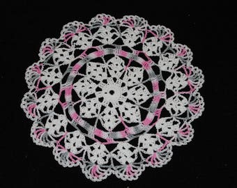 New Hand Crocheted Doily - white and pink silver multicolor