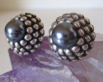 Vintage Lagos Style Silver Earrings and Black Pearls