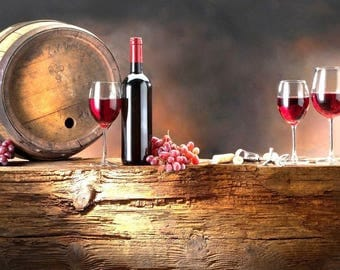Laminated placemat wine bottle, barrel and grapes