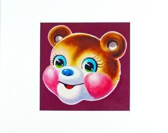 Limited Edition 'Big-Eyed' Bear Print With Mount;  Original, Vintage-Themed, Unframed