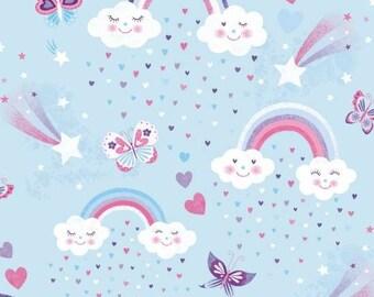 Unicorn Kisses- Rainbows & Clouds on Blue Cotton Woven