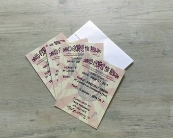 "50 5"" X 7"" invitations with envelopes included"