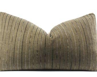 Vintage Tribal Textile Pillow Cover, Olive Green, Black, Striped, Textile, Ethnic, Handmade, 11x19, SKU070627