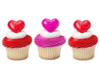 Wedding Hearts Cupcake Topper Rings - Set of 12