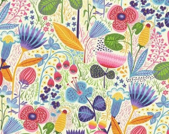 Bright Large Flowers in Pink and Blue                    Helen's  Meadow   #Y2225-57