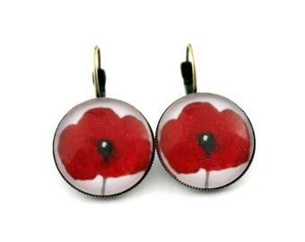 "Earrings sleepers ""red poppy 3"" cabochon 20 mm"