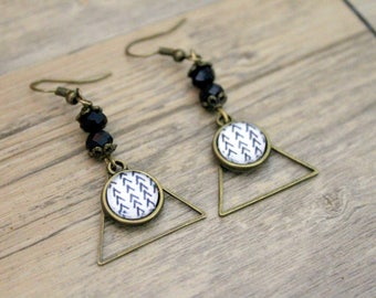 Earrings Bohemians graphic chevrons with triangle - cabochon